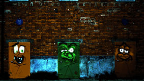 Le 3 porte colorate Fotografia Stock