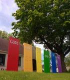 Le porte del ` s di Dio sono aperte a tutti, l'orgoglio di LGBT, NJ, U.S.A. Immagini Stock Libere da Diritti