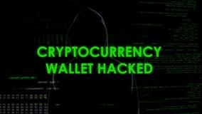 Le portefeuille de Cryptocurrency a entaillé, argent de vol criminel de finances de compte photos libres de droits