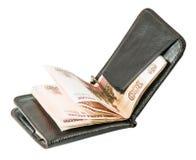 Le portefeuille des hommes avec des billets de banque Image stock