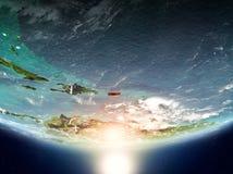 Le Porto Rico avec le soleil sur terre de planète Images libres de droits
