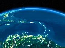 Le Porto Rico de l'espace la nuit photographie stock