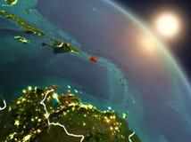 Le Porto Rico de l'espace pendant le lever de soleil Images stock