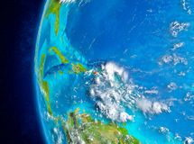 Le Porto Rico sur terre de l'espace photos stock