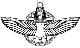 Le portrait d'animation de l'Egyptien antique s'est envolé la déesse Photographie stock