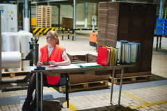 Le portrait d'un employé féminin dans un gilet orange de robe longue dans l'espace de fonctionnement des installations productive Photo stock