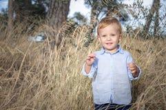 Le portrait d'un petit garçon près a défraîchi l'herbe Image stock