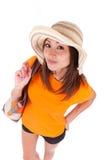Le portrait d'une jeune belle femme asiatique en été vêtx - As Photos stock
