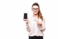 Le portrait d'une jeune femme d'affaires magnifique s'est dirigé au téléphone photos stock