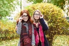 Le portrait de deux étudiantes mignonnes aux cheveux longs de sourire d'amie en verres s'est habillé dans un manteau et une échar Images stock