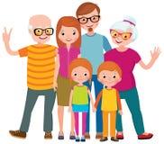 Le portrait de famille de trois générations parents les enfants et le grandc illustration stock
