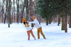 Le portrait de jeunes couples souriant et jouant lance des boules de neige en hiver Images libres de droits