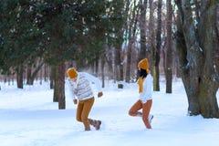 Le portrait de jeunes couples souriant et jouant lance des boules de neige en hiver Image stock