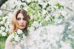 Le portrait de la belle dame romantique dans des pommiers fleurit Images libres de droits