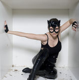 Le portrait de la jeune femme de beauté dans le masque aiment le chat dans le boîtier blanc Photographie stock