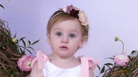 Le portrait de la petite fille avec des fleurs dans les cheveux regarde l'appareil-photo la séance photos contre le contexte d'un clips vidéos