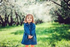 Le portrait de ressort de la petite fille mignonne d'enfant en bas âge dans des blues-jean habillent la marche en parc de florais images libres de droits
