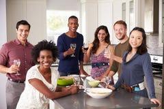 Le portrait des amis appréciant pré le dîner boit à la maison Photo stock