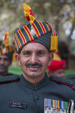 Le portrait des militaires participent aux activités de répétition pour le défilé prochain de jour de République d'Inde Delhi Ind Images libres de droits