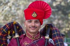Le portrait des militaires participent aux activités de répétition pour le défilé prochain de jour de République d'Inde Delhi Ind Photographie stock libre de droits