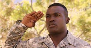 Le portrait du soldat fait le salut en parc banque de vidéos