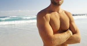 Le portrait du surfer masculin se tenant avec des bras a croisé dans la plage banque de vidéos