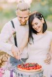 Le portrait en gros plan des couples brouillés de nouveaux mariés coupant le gâteau de mariage avec des cerises et des fraises E Images libres de droits