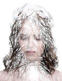 Le portrait et un forrest de femme sans des feuilles Photos libres de droits