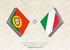 Le Portugal contre l'Italie, ligue A, groupe 3 Competitio du football de l'Europe illustration libre de droits