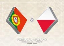 Le Portugal contre la Pologne, ligue A, groupe 3 Competiti du football de l'Europe illustration libre de droits