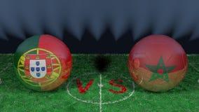 Le Portugal contre le Maroc Coupe du monde 2018 de la FIFA Image 3D originale Image libre de droits