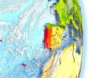 Le Portugal en rouge sur terre illustration stock
