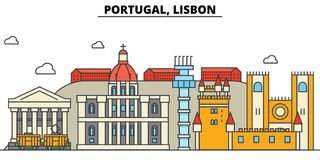 Le Portugal, Lisbonne Architecture d'horizon de ville editable Photo stock