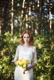 Le pose della sposa del redhair in foresta Fotografia Stock Libera da Diritti