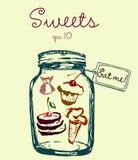 Le pot avec des bonbons et le label me mangent Glace, bonbons Image stock