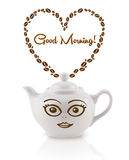 Le pot de café avec des grains de café a formé le coeur avec le signe bonjour Image stock