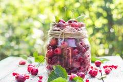 Le pot en verre porte des fruits des cerises et des framboises Photo libre de droits