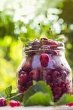 Le pot en verre porte des fruits des framboises de cerises Image libre de droits