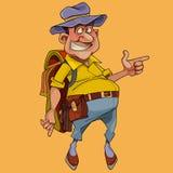 Le pot gai de bande dessinée s'est gonflé le touriste masculin avec le sac à dos illustration stock