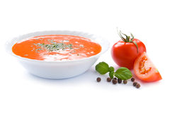 Le potage de tomate a isolé Photo libre de droits