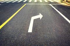 le poteau de signalisation, panneau routier, tournent à droite Images libres de droits