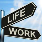 Le poteau indicateur de vie active signifie l'équilibre de la carrière Images libres de droits