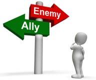 Le poteau indicateur ennemi allié montre l'ami ou l'ennemi illustration stock