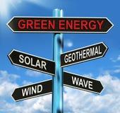 Le poteau indicateur vert d'énergie signifie le vent solaire géothermique et la vague Photographie stock