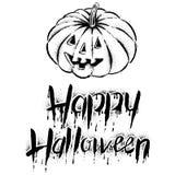 Le potiron avec le texte - Halloween heureux Photographie stock