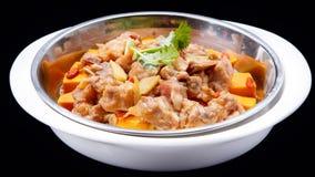 Le potiron a cuit des nervures à la vapeur de porc, cuisine traditionnelle chinoise d'isolement Images libres de droits