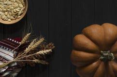 Le potiron orange de texture se repose sur la couleur noire de fond en bois photos libres de droits