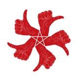 Le pouce cinq vers le haut de la main signe dedans autour du symbole abstrait avec le pentagona Photos libres de droits