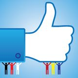 Le pouce coloré aiment vers le haut le symbole de main avec des gens Image stock