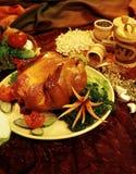 Le poule-gril avec les additifs aromatiques (nourriture-type) Images libres de droits